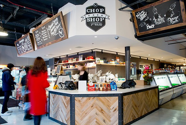 One-stop Chop Shop offers hot and cold sandwiches, deli items, and lovely cuts of meat during retail hours, and a streamlined steak house menu in the dining room upstairs.