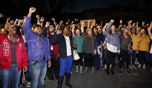 OU students rally outside the Sigma Alpha Epsilon house