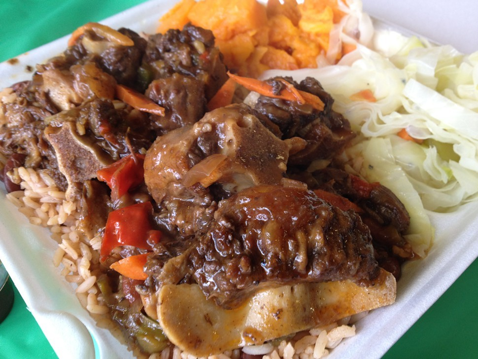 oxtail dinner, Heron Valley Jerk Chicken