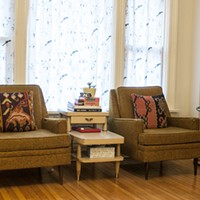 Latin American Design Aesthetics in Humboldt Park Parsell and Barros mix and match thrift store furniture. Andrea Bauer