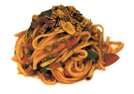 Pasta alla chitarra with tomato sauce and colatura.