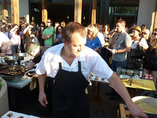 Paul Virant at a cooking event outside Perennial Virant