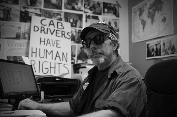 Peter Enger advocates for cabdrivers from the United Taxidrivers Community Council office in Bucktown. - ANDREA BAUER