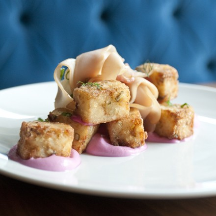 Pickle tots, chicken breast bresaola, red onion yogurt, scallions