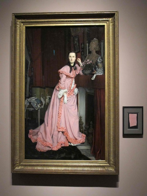 Portrait of the Marquise de Miramom, by James Tissot, 1866 - notice the fabric sample from her peignoir.