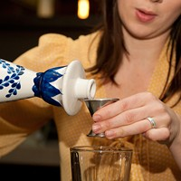 Step-by-step instructions for making Jenny Kessler's mushroom-blueberry Shiitake Flip Pour in an ounce and a half of Clase Azul Reposado Tequila. Andrea Bauer