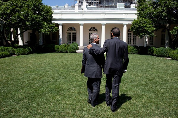 President Barack Obama and Chief of Staff Rahm Emanuel walk across the Rose Garden of the White House following the Economic Daily Briefing, which was held outdoors, June 17, 2010.