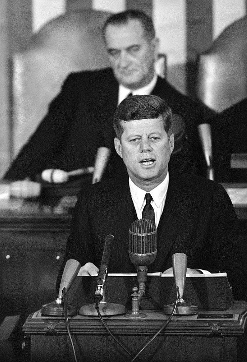President John F. Kennedy, speaking in the House chamber in January 1963, with Vice President Lyndon Johnson behind him. Kennedy put poverty on the presidential agenda, but it was Johnson who set the War on Poverty in motion.