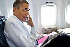 President Obama on Air Force One in August