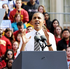 President Obama speaking at the University of Southern California