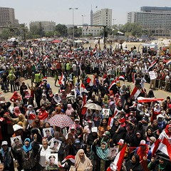 Protesters in Tahrir Square earlier today