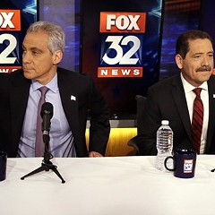"Rahm Emanuel and Jesus ""Chuy"" Garcia at Thursday's mayoral runoff debate."