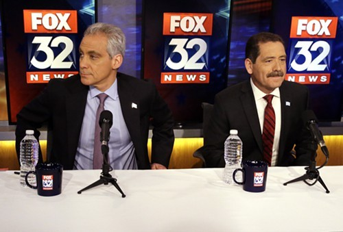 Rahm Emanuel and Jesus Chuy Garcia at Thursdays mayoral runoff debate.