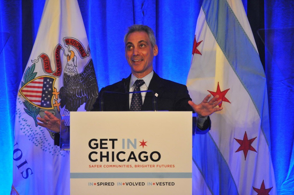 Rahm Emanuel laughing it up.