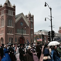 Reenactors in period garb gathered in Springfield for the 150th anniversary of Lincoln's funeral.