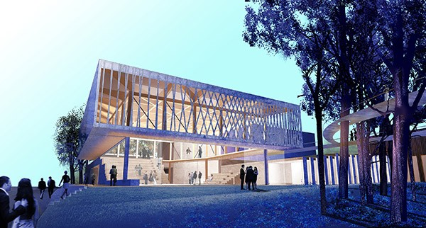 Rendering of Writers Theatre's new facility, designed by Jeanne Gang, a far cry from the basement black box at the Chopin