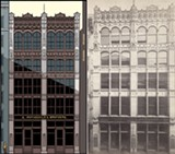Richard Nickel's photograph of the E. Rothschild and Brothers building by Adler and Sullivan; Ware's drawing from the program Lost Buildings - ALBERT LEVY'S ARCHITECTURAL PHOTOGRAPHIC SERIES NO. 31, 33; CHRIS WARE ALL COURTESY ART INSTITUTE OF CHICAGO