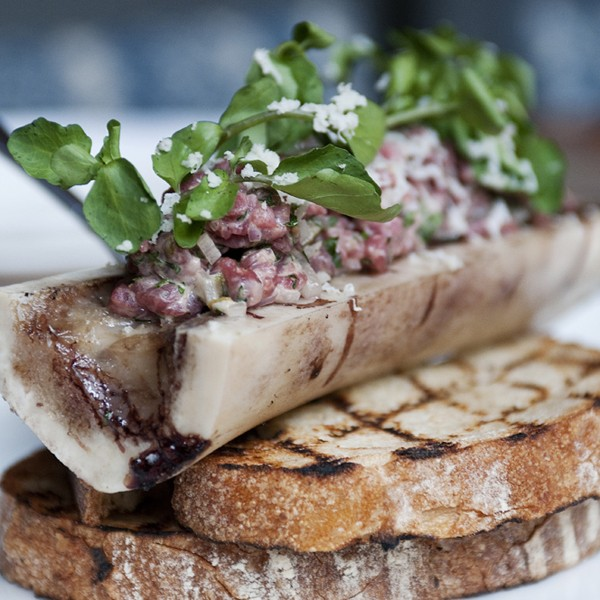 Roasted beef bone and marrow with minced beef tartare