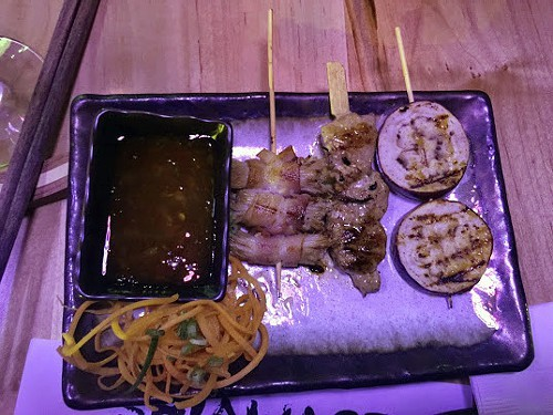 Robata skewers: bacon/enoki mushroom, pork shoulder, eggplant