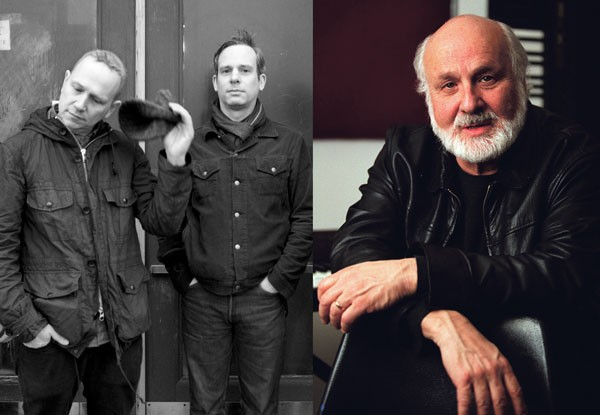 Sam Prekop, left, and John McEntire spoke with pioneering electronic composer Morton Subotnick, far right