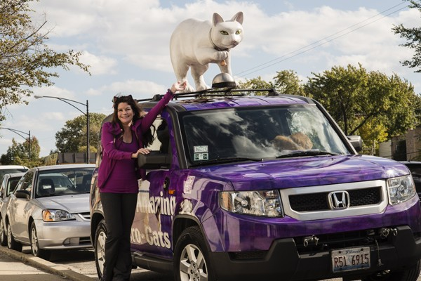 Samantha Martin with the Catmobile