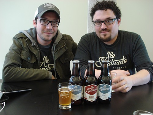 Samuel Evans (left) and Jesse Evans (right), with their first three beers