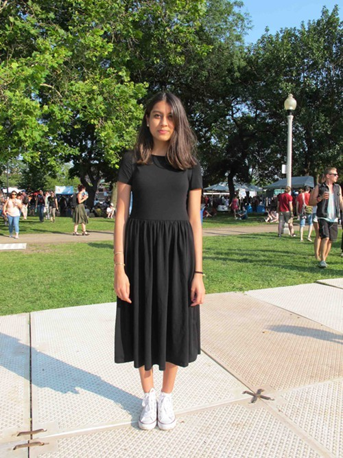 Sapana. Came to see: Grimes. Why this outfit? My sister is out of town so I went into her closet and picked the only dress in there.