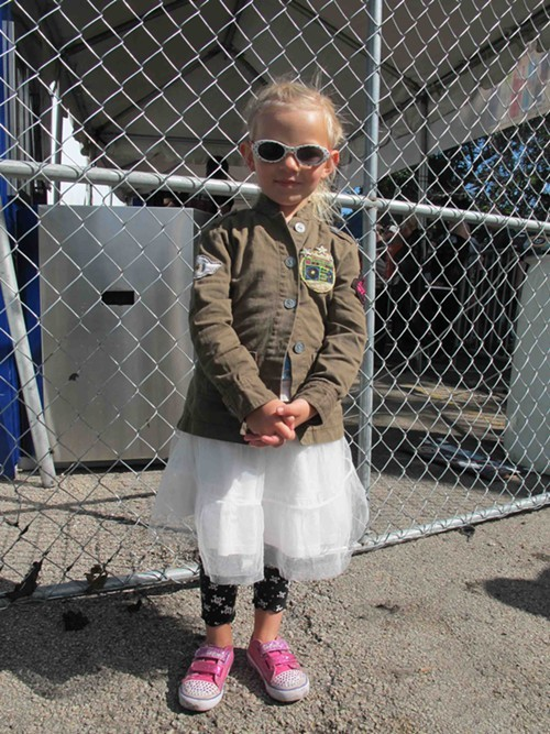 Savannah expertly mixes a military jacket with super girlie apparel.