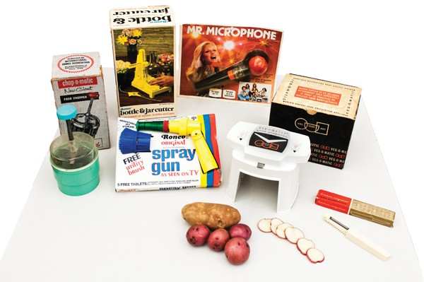 Selections from Tim Samuelson's Popeil and Ronco collection, including the Chop-O-Matic, Mr. Microphone, and the Veg-O-Matic