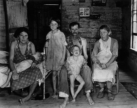 Sharecropper Bud Fields and his family at home. Hale County, Alabama, 1935 or 1936.