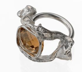 Shark jaw ring with topaz by Icarus & Co., $470