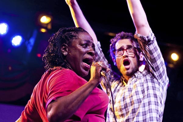 Sharon Jones with an audience member at Brooklyn Bowl, December 30