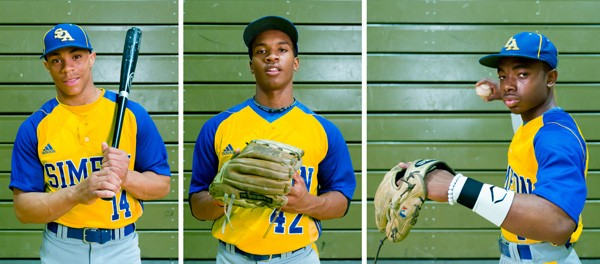 Simeon Career Academy varsity baseball players Corey Ray, Ronell Coleman, and Darius Day - MICHAEL BOYD