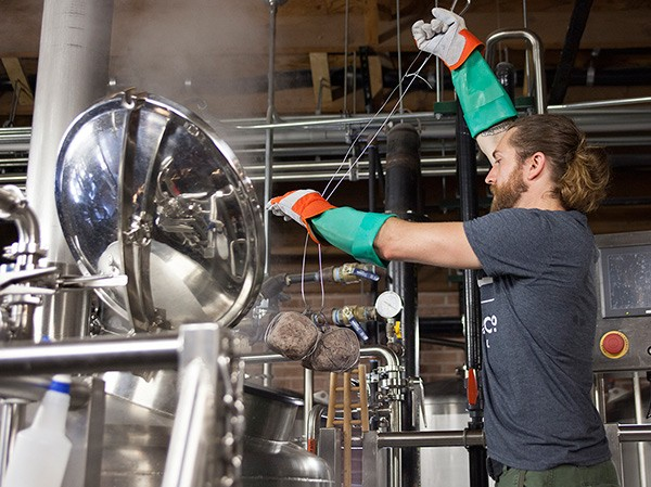 Smylie Brothers head brewer Brad Pulver used grapefruit-size chunks of granite—heated to nearly 800 degrees—to make his Steinbier.