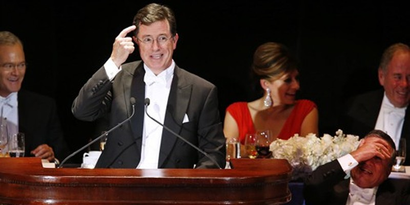 Stephen Colbert delivers the keynote last week at a charity gala organized by the Archdiocese of New York. Some of the guests may have been factose intolerant.