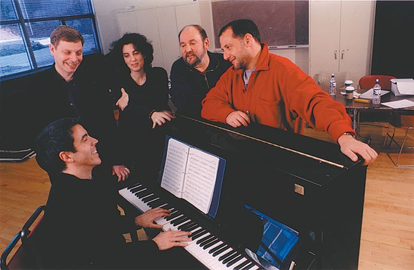 Stuart Oken (right) in 2005 with (from left) Was lyricist Barry Kleinbort, composer Joseph Thalken, director Tina Landau, and AMTP executive director Dominic Missimi