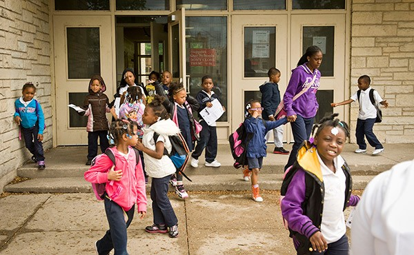 Students at Calhoun North elementary, in East Garfield Park, in May. Calhoun North's enrollment was 99 percent black and 98 percent low-income. It was one of 50 schools the board closed this year because they were underused. - RICH HEIN/SUN-TIMES