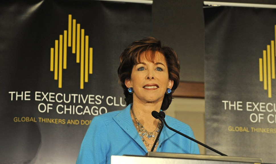 Terry Savage moderating a panel at the Annual Economic Outlook luncheon at the Hyatt Regency Chicago this past January
