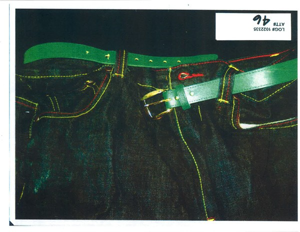 ​The belt ​Eric Tonson ​was wearing the night he was shot in the neck, ​​​​shown ​here ​in an Independent Police Review Authority document​. Two Chicago police officers ​said they ​saw ​the shiny buckle ​before ​firing at the 17-year-old. - IPRA