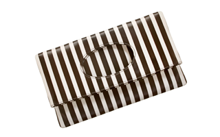The Centennial Stripe Foldover Clutch, featuring Bendels signature stripes, $175