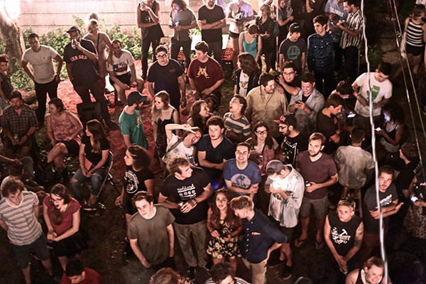 The crowd in the backyard of Animal Kindom's last show - COURTESY MEDIUM GALLERY