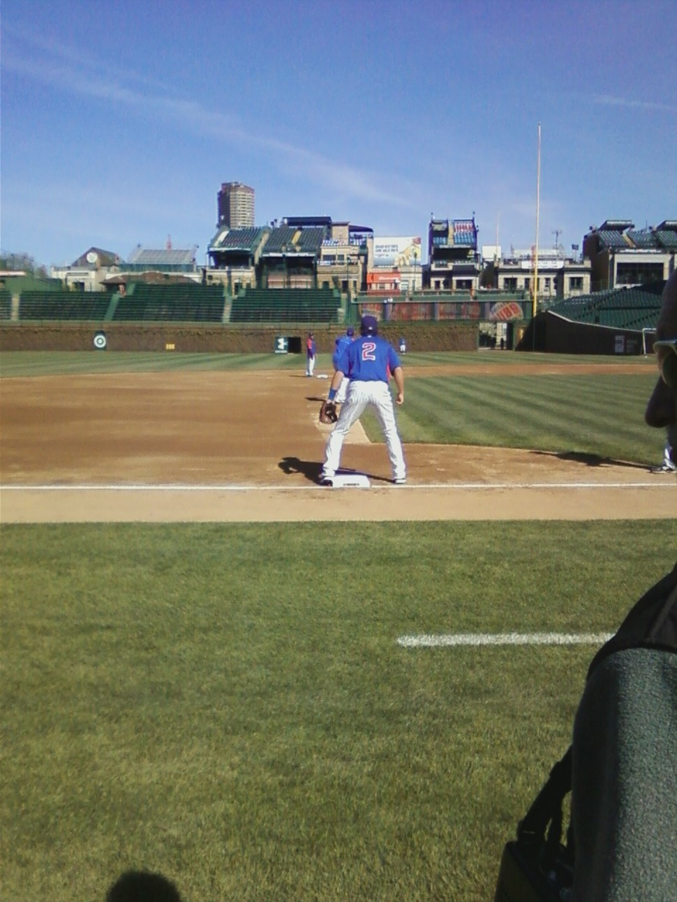 The Cubs third baseman Ian Stewart prepares for the throw from David DeJesus in right as part of infield practice Wednesday.