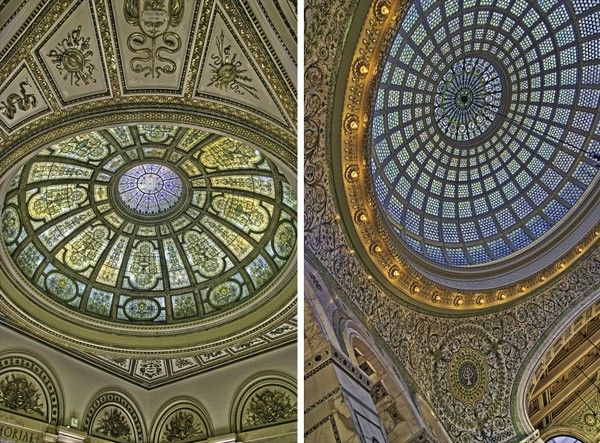 The domes in the GAR Memorial Hall and Preston Bradley Hall, the latter the world's largest made of Tiffany stained glass - KEVIN EATINGER