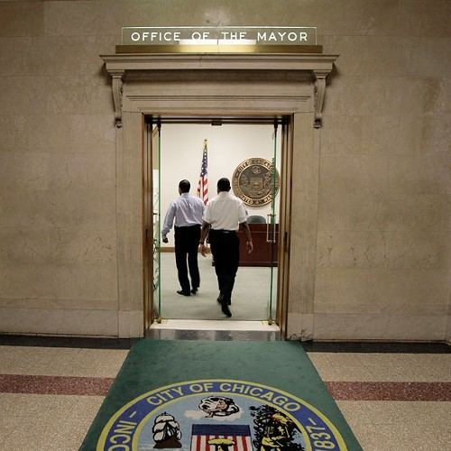 The fifth-floor door of the Mayors office