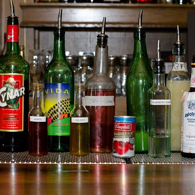 Step-by-step instructions for making a Barrelhouse Flat bartender's Takis cocktail