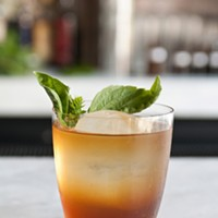 """Step-by-step instructions for making a Graham Elliot Bistro bartender's Madras curry cocktail The Land of Spices (Its name comes from the last line of George Herbert's sonnet """"Prayer."""") Andrea Bauer"""