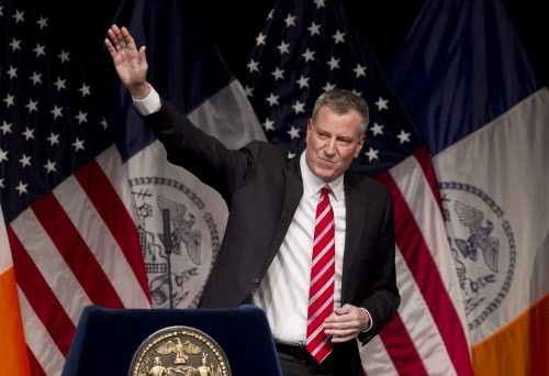 The only thing De Blasio is waving away is any comparisons to Mayor Rahm.