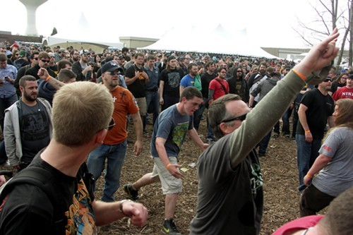 The Pig Destroyer crowd. Can you spot the six women visible in this photo?