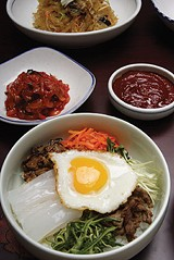 The popular Korean dish bi bim bop