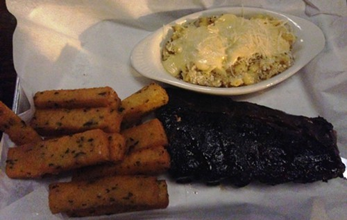 The ribs didnt photograph so well. Also pictured: polenta fries and mac n cheese.